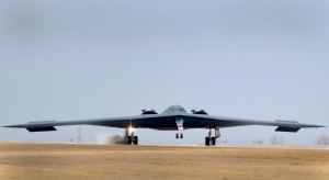 U.S. Air Force B-2 Spirit bomber lands at Whiteman Air Force Base in Missouri